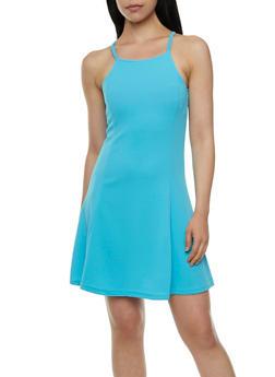 Textural A-Line Dress with Square Neckline - 0094038346871