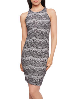 Bodycon Dress with Lace Print Jersey - 0094038346873