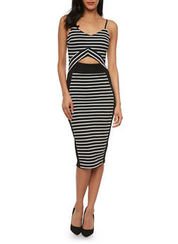 Striped Bodycon Dress with Cutout at Bust - 0094038346877