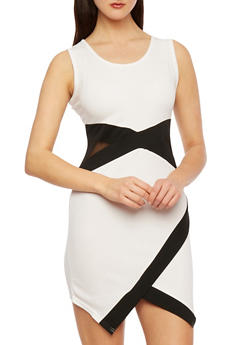 Cutout Colorblock Bodycon Dress with Envelope Hem - 0094038346879