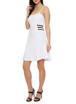 Textured Skater Dress with Mesh Sides - 0094038346881