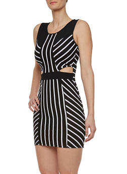 Striped Bodycon Dress with Cutout Sides - 0094038346887