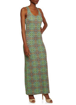 Printed Maxi Dress with Side Slit - 0094038346902