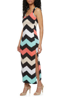 Printed Maxi Dress with Side Slit - 0094038346904