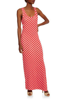 Striped Maxi Dress with Slit - 0094038346905