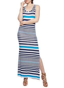 Striped Maxi Dress with Racerback - 0094038346908