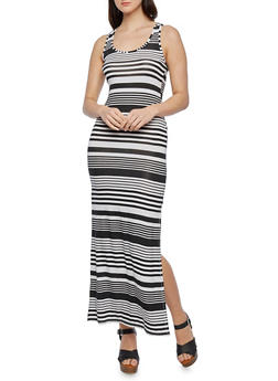 Striped Maxi Dress with Racerback - 0094038346910