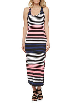 Racerback Maxi Dress with Multicolored Stripes - 0094038346911