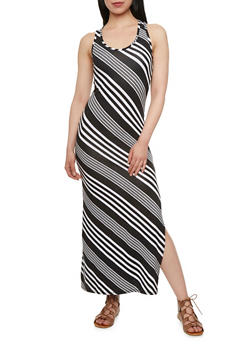 Jersey Maxi Dress with Diagonal Stripes - 0094038346912
