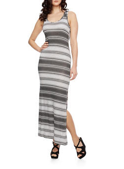 Striped Maxi Dress with Scoop Neck - 0094038346914