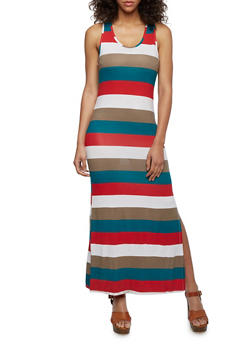 Striped Maxi Dress with Side Slit - 0094038346915