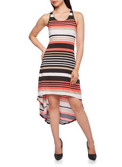 Striped High-Low Dress with Racerback Paneling - 0094038346920
