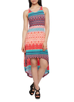 High-Low Racerback Dress in Ikat Print - 0094038346924