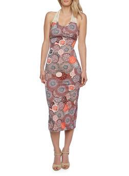 Medallion Print Midi Dress with Crochet Halter Neck - 0094038346942