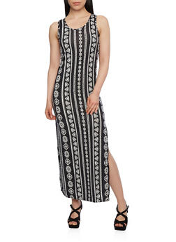Printed Maxi Dress with Crochet Back Panel - 0094038346945