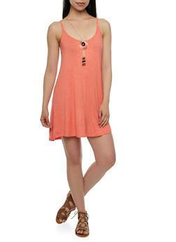 Textural Dress with Scoop Neck and Removable Necklace - 0094038346949