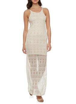 Crochet Maxi Dress with Mini Lining - 0094038346961