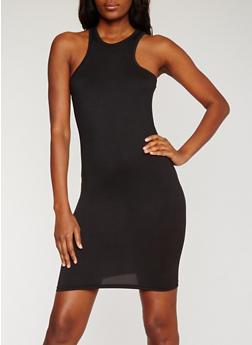 Soft Knit Racerback Tank Dress - BLACK - 0094038347562