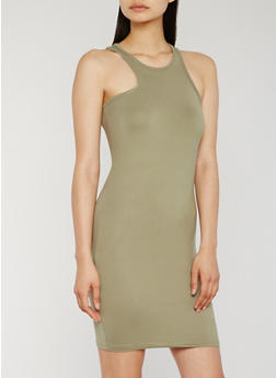 Soft Knit Racerback Tank Dress - OLIVE - 0094038347562