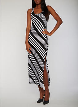 Sleeveless Striped Raceback Maxi Dress with Side Slit - 0094038347601