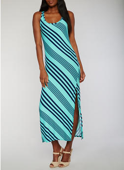 Sleeveless Striped Raceback Maxi Dress with Side Slit - 0094038347601