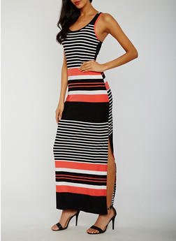 Striped Sleeveless Maxi Dress with Side Slits - 0094038347604