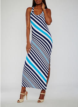 Striped Maxi Tank Dress - 0094038347606