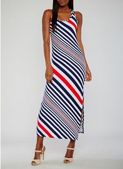 Striped Maxi Tank Dress - 0094038347606