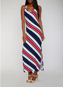 Sleeveless Striped Maxi Tank Dress with Side Slit - 0094038347607
