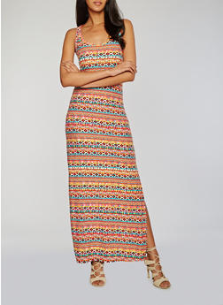 Printed Scoop Neck Maxi Tank Dress with Side Slit - 0094038347611