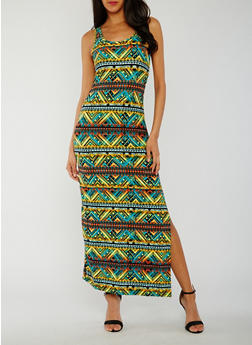Sleeveless Printed Tank Maxi Dress - 0094038347612