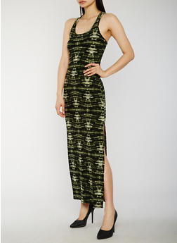 Tie Dye Sleeveless Maxi Dress - OLIVE - 0094038347614