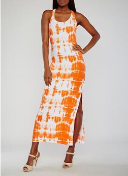 Tie Dye Scoop Neck Maxi Tank Dress - 0094038347616