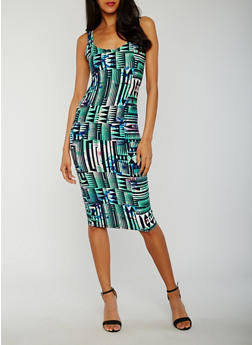 Printed Sleeveless Multicolor Bodycon Dress - 0094038347626