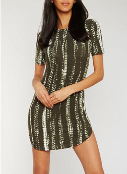 Short Sleeve Tie Dye T Shirt Dress - OLIVE - 0094038347629