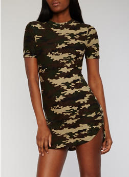 Short Sleeve Camouflage T Shirt Dress - 0094038347635