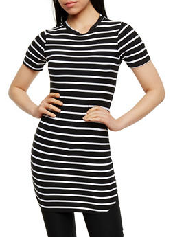 Short Sleeve Striped T Shirt Dress - 0094038347636