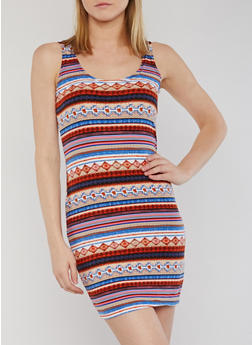 Sleeveless Soft Knit Printed Bodycon Dress - 0094038347639