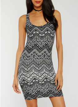 Sleeveless Printed Tank Dress - 0094038347641