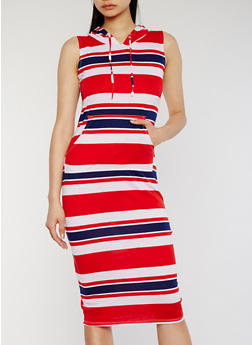 Hooded Stripe Midi Dress with Pouch Pocket - 0094038347739