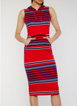 Hooded Striped Midi Dress with Kangaroo Pocket - 0094038347742