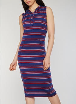 Striped Sleeveless Mid Length Hooded Dress with Pouch Pocket - 0094038347743