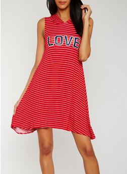 Striped Love Graphic Hooded Shift Dress - 0094038347779