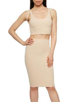Sleeveless Bandage Crop Top and Pencil Skirt Set - TAN - 0094038347783