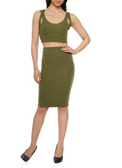 Sleeveless Bandage Crop Top and Pencil Skirt Set - OLIVE - 0094038347783