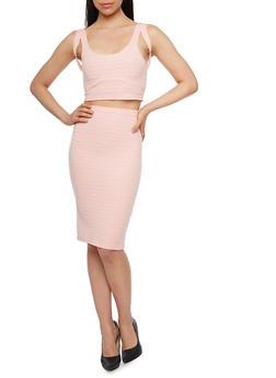 Sleeveless Bandage Crop Top and Pencil Skirt Set - PINK - 0094038347783