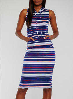 Sleeveless Striped Midi Dress with Hood - 0094038347794