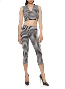 Striped Hooded Crop Top with Matching Capri Leggings Set - 0094038347799