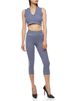 Striped Hooded Crop Top with Matching Capri Leggings Set - NAVY/WHITE - 0094038347799