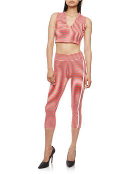 Striped Hooded Crop Top with Matching Capri Leggings Set - WHITE/RED - 0094038347799